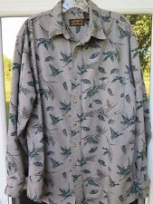 Vintage Eddie Bauer All Cotton Gray Green Geese Hunting Flannel Shirt Medium USA