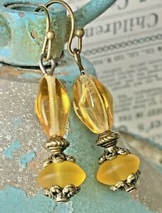 Bronze and Etched Golden Topaz Yellow Czech Glass Bead Earrings.