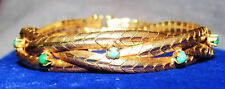 ANTIQUE/VTG ART DECO 18K CHEVRON BRAID OMEGA TURQUOISE HUISMAN BROS BRACELET~39g