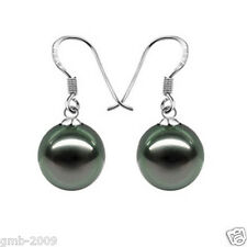 10mm Natural Black South Sea Shell Pearl 925 Sterling Silver Dangle Earrings