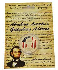 Guerra civile americana Presidente Abramo Lincoln Gettysburg indirizzo MEDAGLIA Cardato