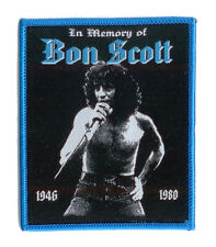 BON SCOTT Aufnäher IN MEMORY OF BON - Rarer Tribute Patch - blue border edition