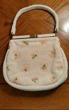 Vintage Leonard beaded purse flowers ivory very good