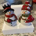 Delton Christmas Snowman Salt & Pepper Shakers Ceramic - Used