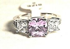 NICE WOMENS/GIRLS SILVER RING SIZE 8 WITH PURPLE & WHITE SQUARE CUBIC ZIRCONIAS