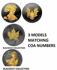 3-1 OZ Matching COA - EAGLE - MAPLE - BRITANNIA 24K BLACKOUT COLLECTION