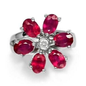 4.55ct t.w 6pcs Natural Top Red Ruby Ring With White Topaz in 925 Silver