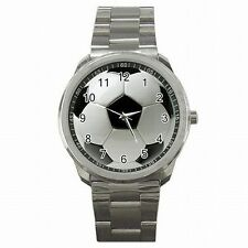 World Cup Soccer Ball Futbol Player Accessory Stainless Steel Watch