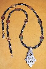 Ethiopian Christian Metal Cross Necklace W Fluorite Garnet & Smokey Quartz Beads