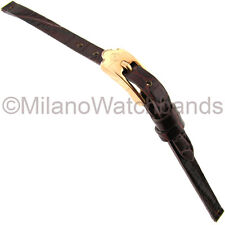 6mm Glam Rock High Quality Alligator Grain Red Brown Genuine Leather Watch Band