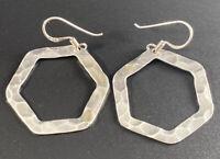 Vtg Sterling Silver 925 Hammered Hexagon Hoop Pierced Earrings Artist Signed