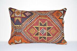 "16"" X 24"" Handmade Rustic Turkish Orange Kilim Lumbar Pillow Cover"