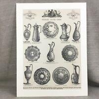 1880 Vittoriano Argento Vassoio Brocche Piastra Annuncio Motivi Originale Antico