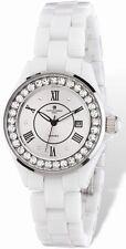 Ladies Charles Hubert Crystal Bezel White Ceramic Watch