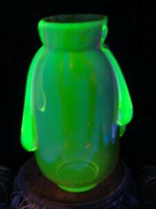 Antique Bohemian Harrach Rubina Cased Verde Art Glass Vase Applied Uranium Drips