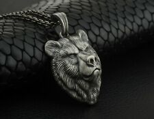 3D Oxidized Silver Bear Head Mens Pendant Necklace with Silver Chain Boho Gift