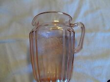 """PINK MAYFAIR """"OPEN ROSE"""" 8 1/2"""" 80 OUNCE LARGE PITCHER DEPRESSION GLASS 1931-37"""