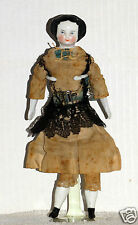 """Antique 9 """" Civil War China Head Doll Outfit Original Repaired Foot Ad92113185"""