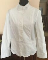 Women's Size 14 TALBOTS Stretch White Long Sleeve Button Front Jacket NEW