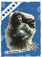 ACEO ATC Art Collage Print Ladies Girl Christmas Tree Snowflake Lace Blue