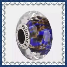 PANDORA Murano Glass Charms with deep blue sea Faceted Bead S925 ALE 791609 New