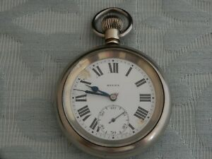"""Unusual Large """"L.N.E.R"""" Nickel pocket watch, working but dial A/F, estate find"""