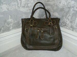 STUNNING OLIVE GREEN VINTAGE CHLOE TOTE LARGE HANDBAG FAUX LEATHER IMMACULATE
