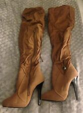 BROWN OVER THE KNEE BOOTS LACES UP THE BACK side zipper size 6.5 SOFT MATERIAL