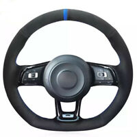 Black Suede Car Steering Wheel Cover for VW Golf 7 GTI Golf R MK7 Polo  Scirocco