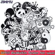 50pcs Cool Black & White Car Sticker Graffiti Skateboard Luggage Decal For Kids