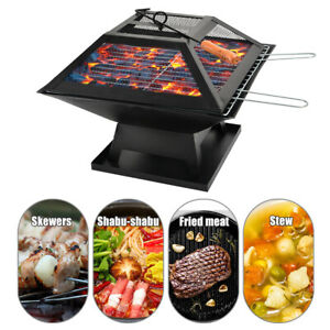 Outdoor Fireplace Brazier BBQ Grill Patio Heater 2-in-1 Fire Pit w/Poker & Cover