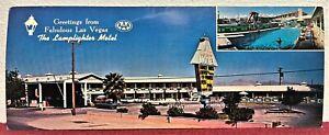 "🏨 1960's "" THE LAMPLIGHTER MOTEL ~ LAS VEGAS, NEVADA "" Postcard:  "" RARE!! "" 🏨"