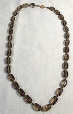 "Smoky Quartz Bead 22"" Necklace with 14K Gold Clasp"