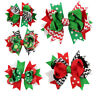 Kid Girl Snowflake Ribbon Hair Bows Clip Children Hairpin Christmas Holiday Gift