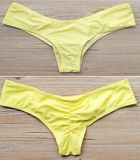 Brazilian Womens V Thong Cheeky Ruched Bikini Bottom Swimwear Beachwear S-XL FO