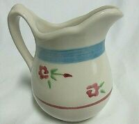 """VTG Style Ironstone Creamer With Blue Stripe and Pink Flowers 4.5"""" tall"""