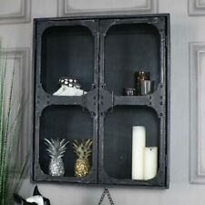 Wall mounted glass fronted cabinet retro style bathroom hallway storage cupboard