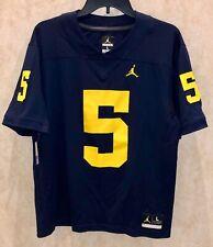 NIKE Jordan Michigan Wolverines #5 Peppers Navy Alumni Football Jersey Mens L M