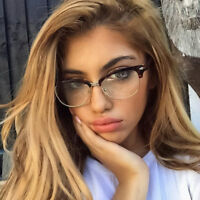 WOMEN/MEN Fashion Clubmaster Style Glasses Clear Lens Half Frame Retro Nerd NEW