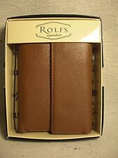 Rolfs Heritage Tan Tumbled Leather Key Caddy Trifold Wallet NWT $34