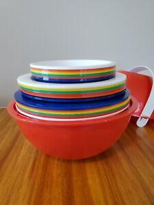 Vintage INGRID Red Plastic Picnic Party Ball Picnic Set Serves 6 - Cups & Plates