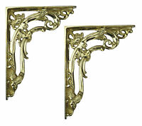 """Pair of 6"""" / 15cm Solid Brass Scroll Leaf Wall Shelf Brackets - Antique Supports"""