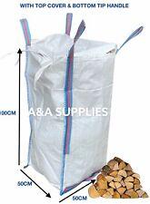 ✅ Logs Storage Bag 50x50x100cm Garden Waste Dumpy Firewood Builders Sacks + Lid