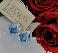 925 STERLING SILVER STUD EARRINGS CRYSTALS FROM SWAROVSKI® CUBE AQUAMARINE 6MM