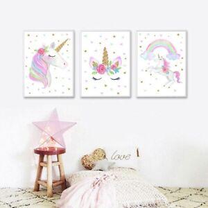 Rainbow Unicorn Canvas Print Pictures Nursery Kids Bedroom Hanging Wall Decor