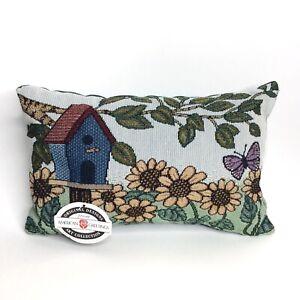 Vintage Needlepoint Pillow Tapestry Sunflower Butterfly Garden Birdhouse 9x13