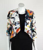Joseph Ribkoff Jacket Blazer Open Front Taffeta 3/4 Sleeves White Size 8 New