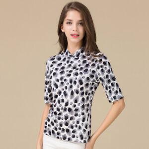 100% Silk Print Mock Turtleneck Half Sleeves Womens Shirt