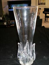 "VINTAGE 1968 STEUBEN CRYSTAL FLAME VASE #8235 - SIGNED - 10"" TALL - VG CONDITION"