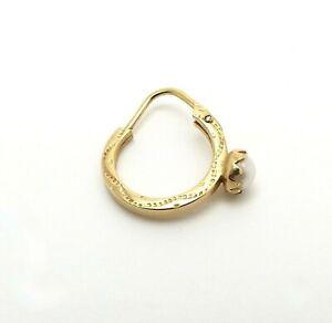 18k Gold 750 Italy Pearl Single Sleeper Endless Hoop Earring